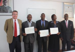 From left to right: Ambassador Delahousse, Kelvin Manunure, Richard Ngomanyuni, Mrs Chipunza and Prof Mwenje